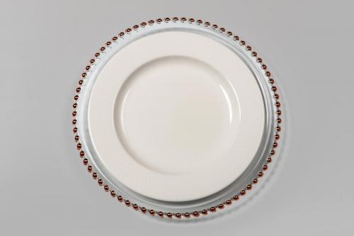 Beaded Charger with White Plate