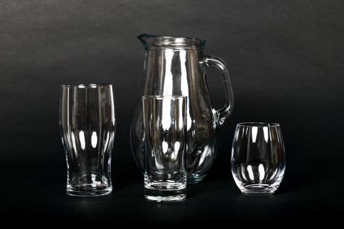 Jug, High Balls, Water & Beer Glasses